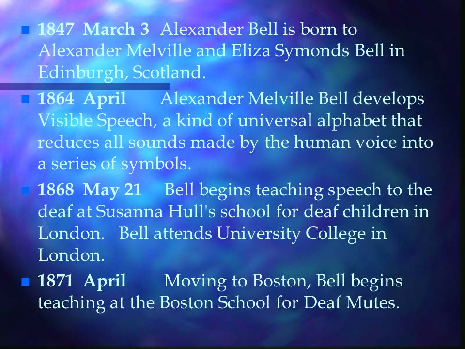 Bells Family Background n n His father, Alexander Melville Bell, had spent many years teaching elocution (showing people how to speak correctly), and had studied the mechanics of speech: how we use our larynx, mouth, tongue and lips to form sounds.