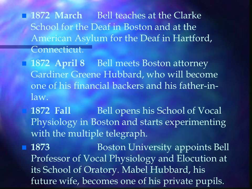 n n 1847 March 3 Alexander Bell is born to Alexander Melville and Eliza Symonds Bell in Edinburgh, Scotland.
