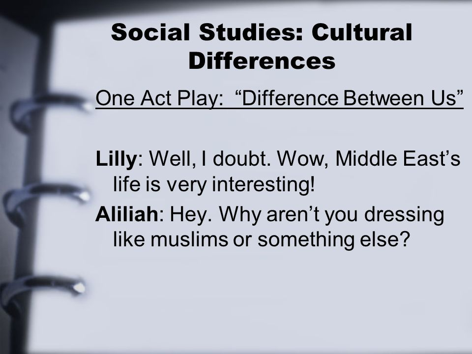 Social Studies: Cultural Differences One Act Play: Difference Between Us Lilly: Well, I doubt.