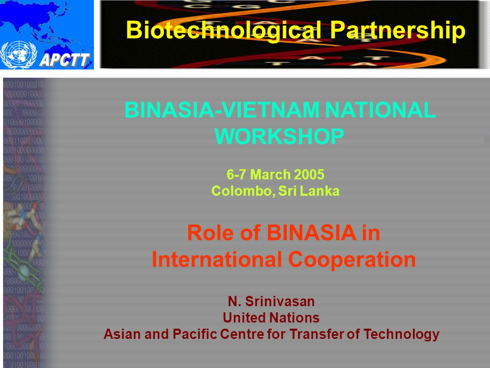 Biotechnological Partnership BINASIA-VIETNAM NATIONAL WORKSHOP 6-7 March 2005 Colombo, Sri Lanka Role of BINASIA in International Cooperation N.