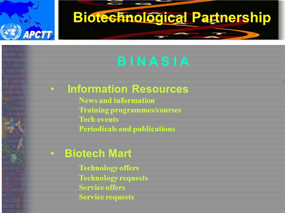 Biotechnological Partnership B I N A S I A Information Resources News and information Training programmes/courses Tech events Periodicals and publications Biotech Mart Technology offers Technology requests Service offers Service requests