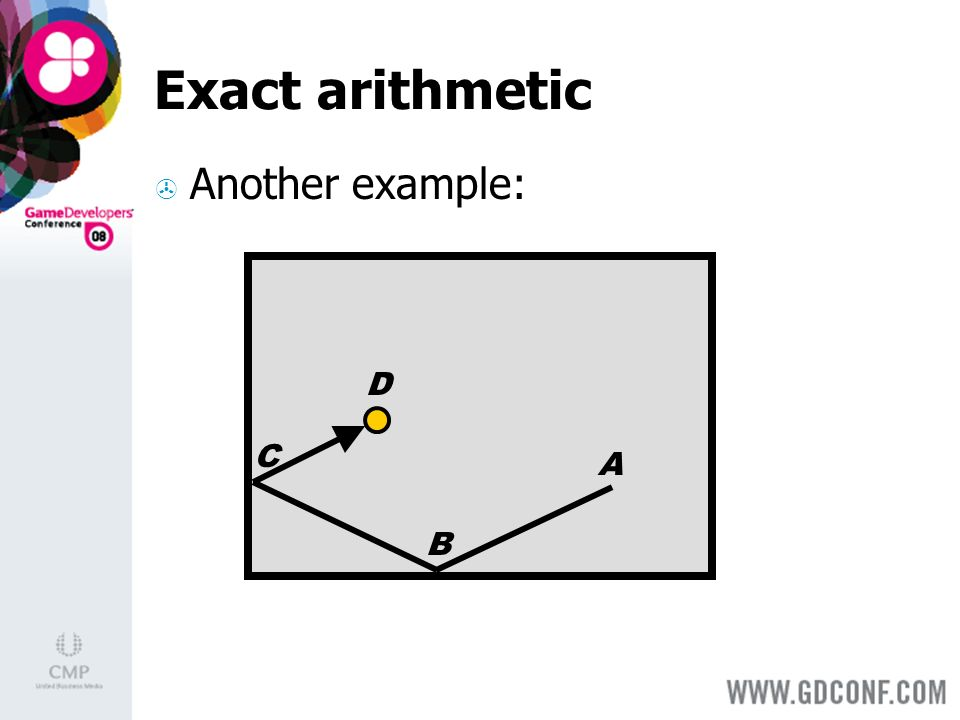 Exact arithmetic Another example: A B C D