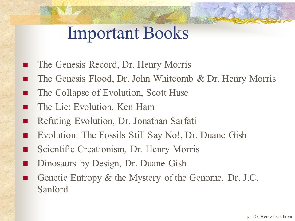 @ Dr. Heinz Lycklama Important Books The Genesis Record, Dr.