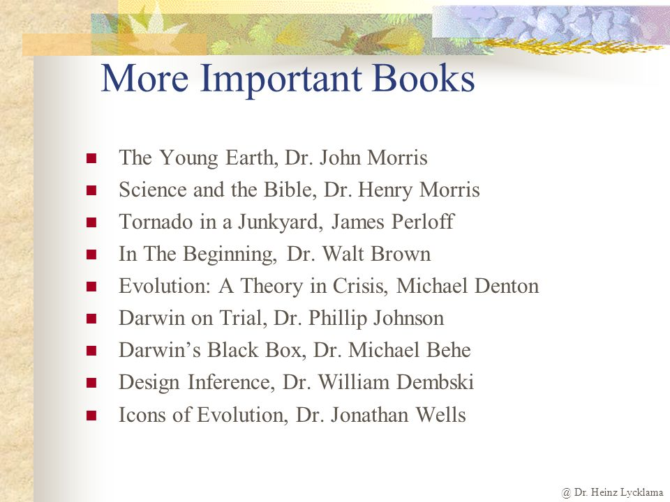 @ Dr. Heinz Lycklama More Important Books The Young Earth, Dr.