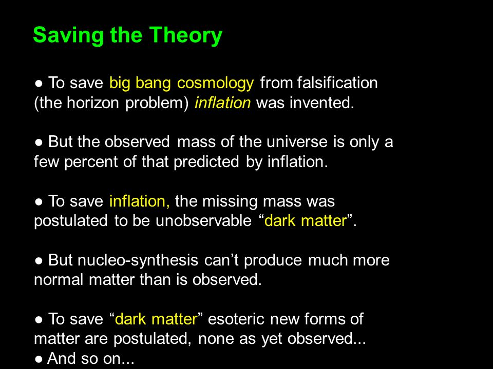 Saving the Theory To save big bang cosmology from falsification (the horizon problem) inflation was invented.