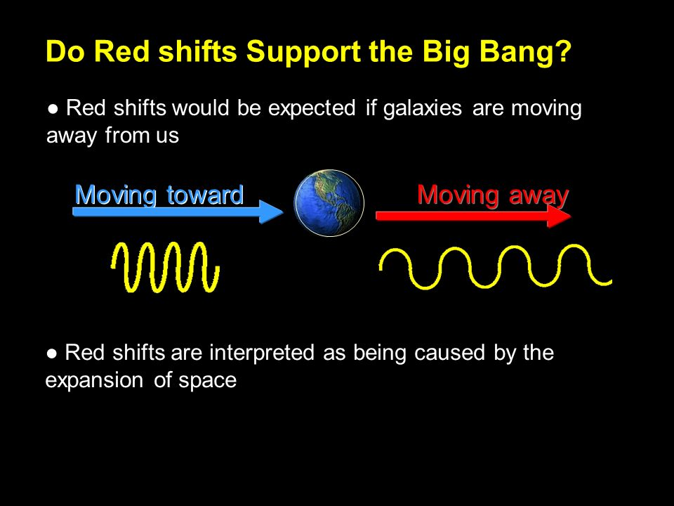 Moving toward Moving away Do Red shifts Support the Big Bang.