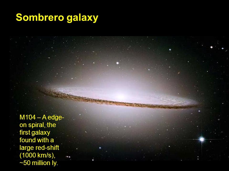 Sombrero galaxy M104 – A edge- on spiral, the first galaxy found with a large red-shift (1000 km/s), ~50 million ly.