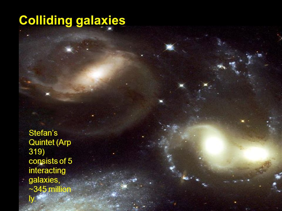 Colliding galaxies Stefans Quintet (Arp 319) consists of 5 interacting galaxies, ~345 million ly.