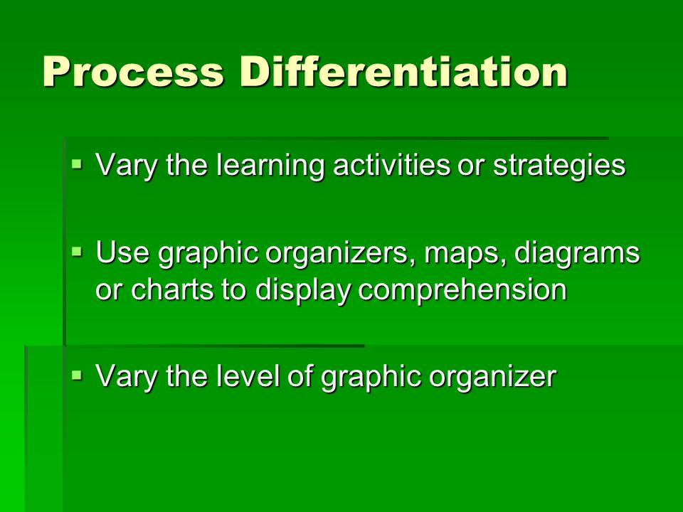 Process Differentiation Vary the learning activities or strategies Vary the learning activities or strategies Use graphic organizers, maps, diagrams or charts to display comprehension Use graphic organizers, maps, diagrams or charts to display comprehension Vary the level of graphic organizer Vary the level of graphic organizer