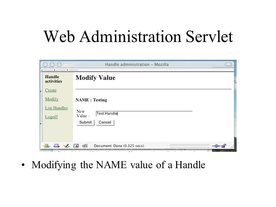 Web Administration Servlet Modifying the NAME value of a Handle
