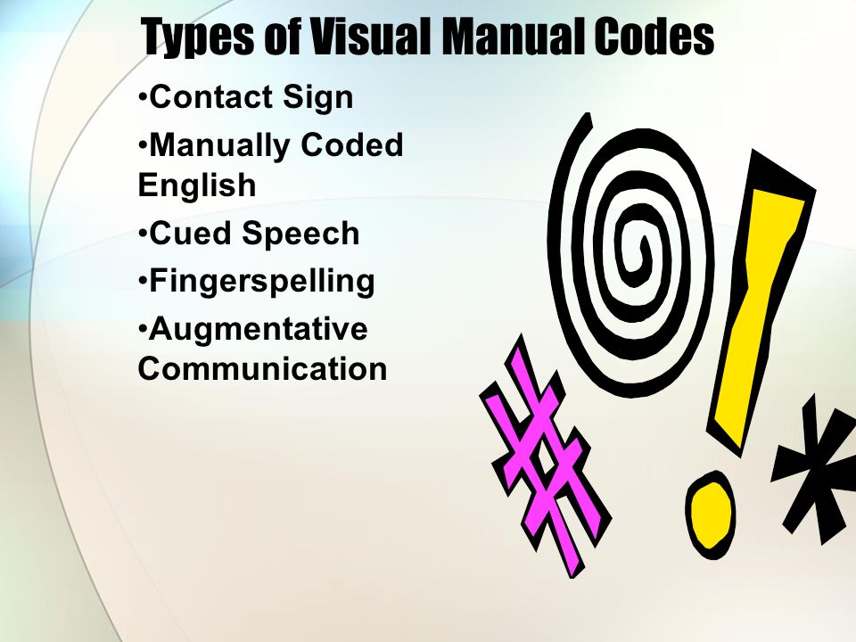 Types of Visual Manual Codes Contact Sign Manually Coded English Cued Speech Fingerspelling Augmentative Communication