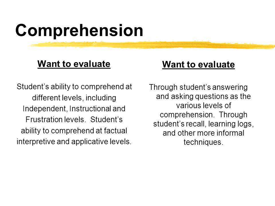 Comprehension Want to evaluate Students ability to comprehend at different levels, including Independent, Instructional and Frustration levels.