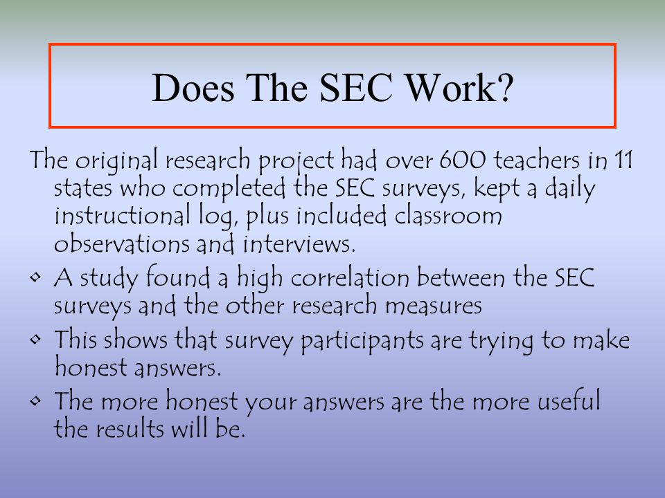 Does The SEC Work.