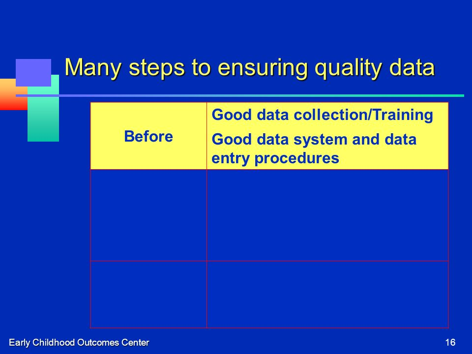Early Childhood Outcomes Center16 Many steps to ensuring quality data Before Good data collection/Training Good data system and data entry procedures During Ongoing supervision of implementation Feedback to implementers Refresher training After Review of COSF records Data analyses for validity checks