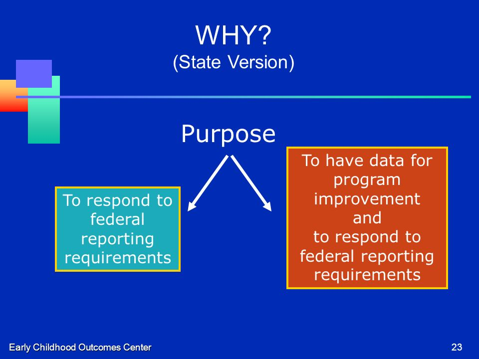 Early Childhood Outcomes Center23 To respond to federal reporting requirements To have data for program improvement and to respond to federal reporting requirements Purpose WHY.