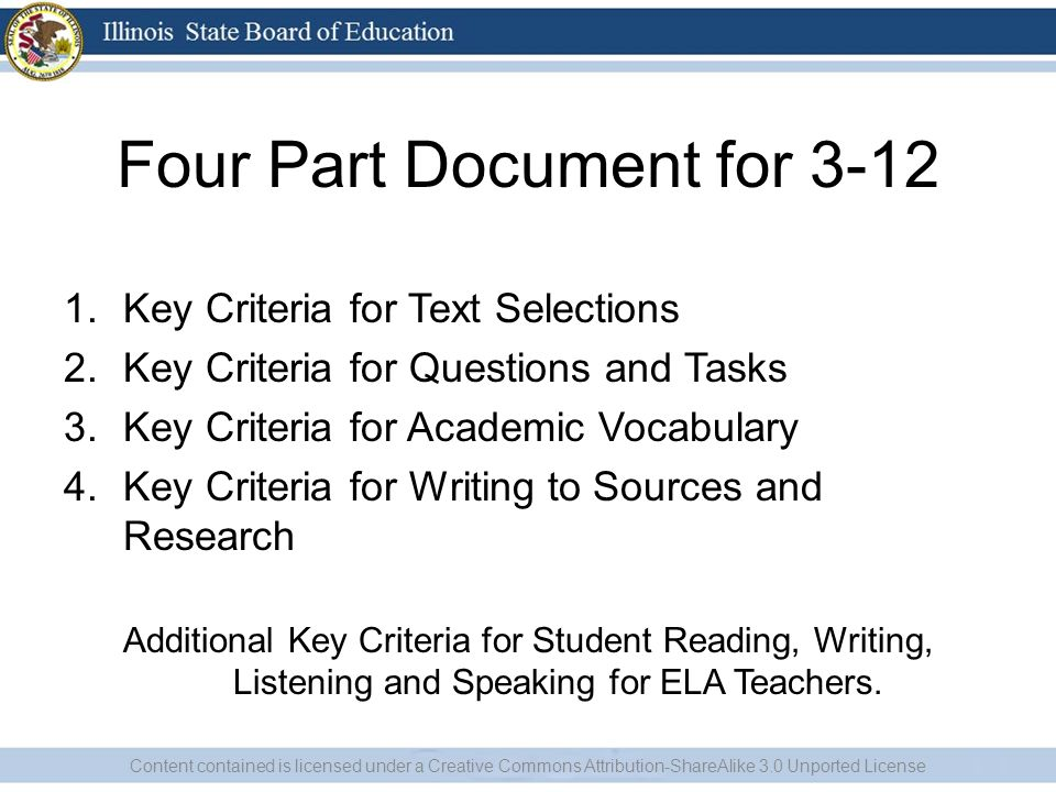 Four Part Document for 3-12 1.Key Criteria for Text Selections 2.Key Criteria for Questions and Tasks 3.Key Criteria for Academic Vocabulary 4.Key Criteria for Writing to Sources and Research Additional Key Criteria for Student Reading, Writing, Listening and Speaking for ELA Teachers.