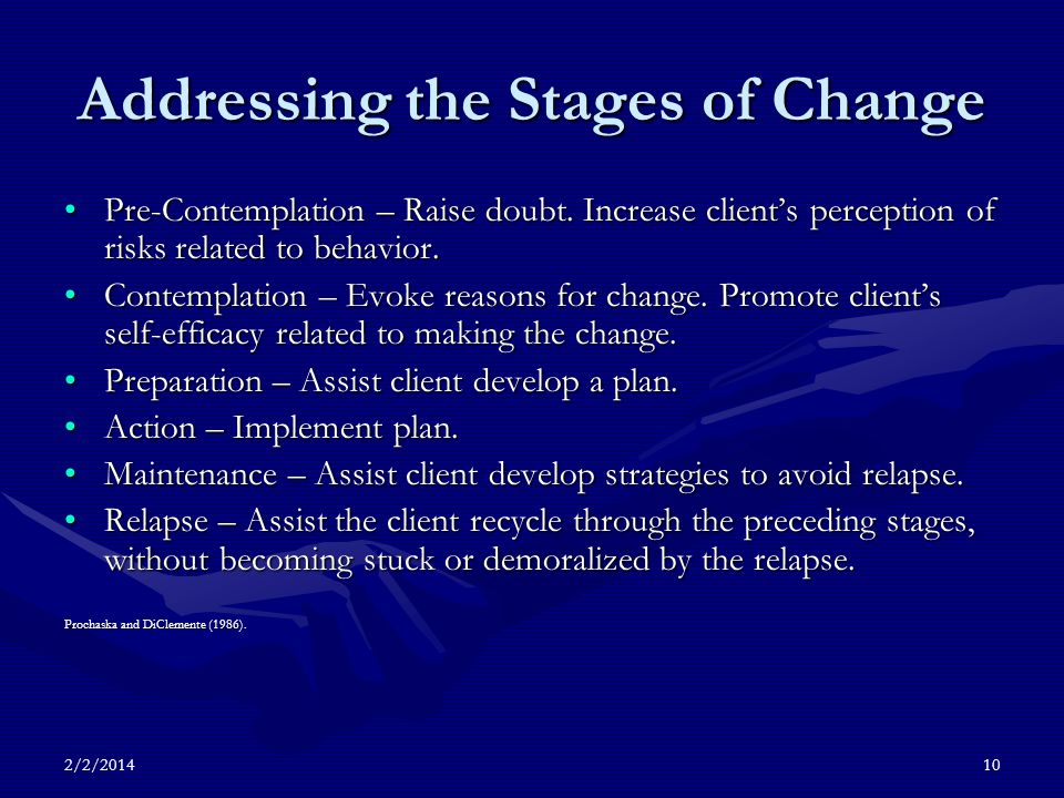 2/2/201410 Addressing the Stages of Change Pre-Contemplation – Raise doubt.