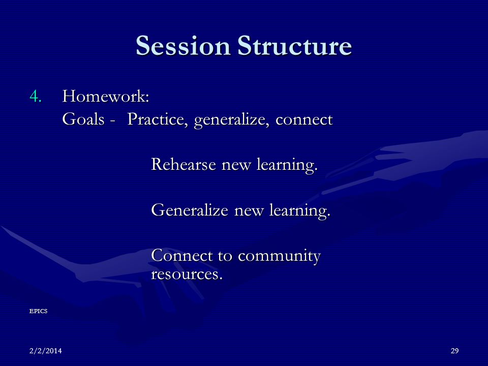 2/2/201429 Session Structure 4.Homework: Goals -Practice, generalize, connect Rehearse new learning.