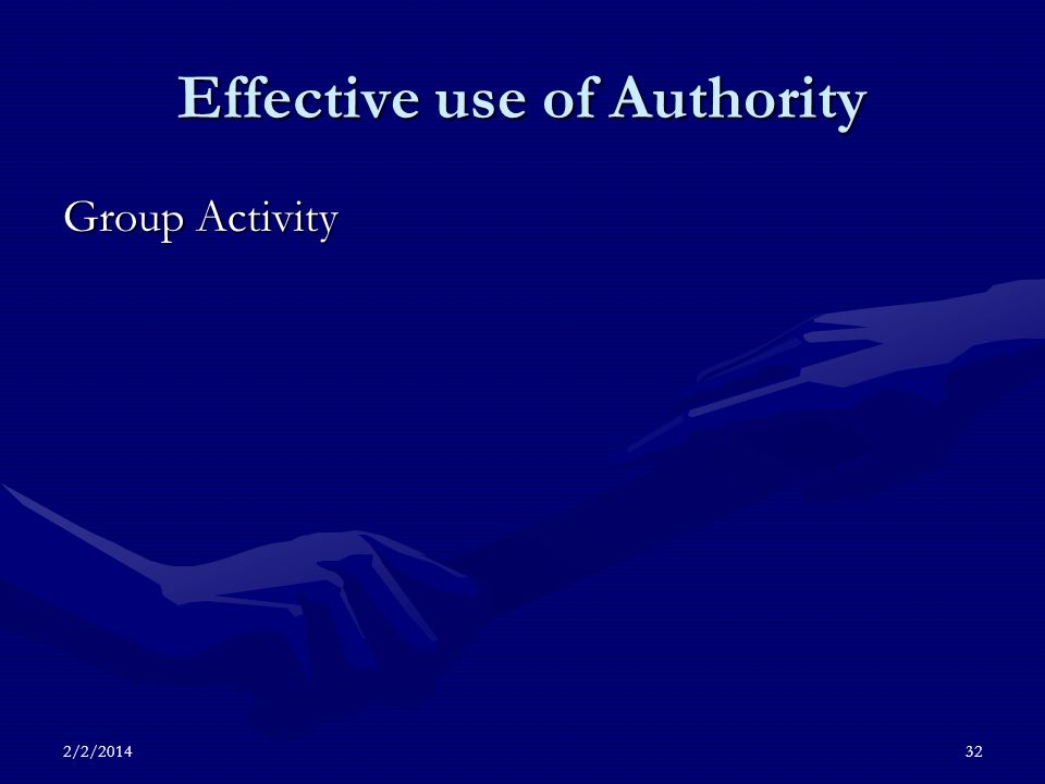 2/2/201432 Effective use of Authority Group Activity