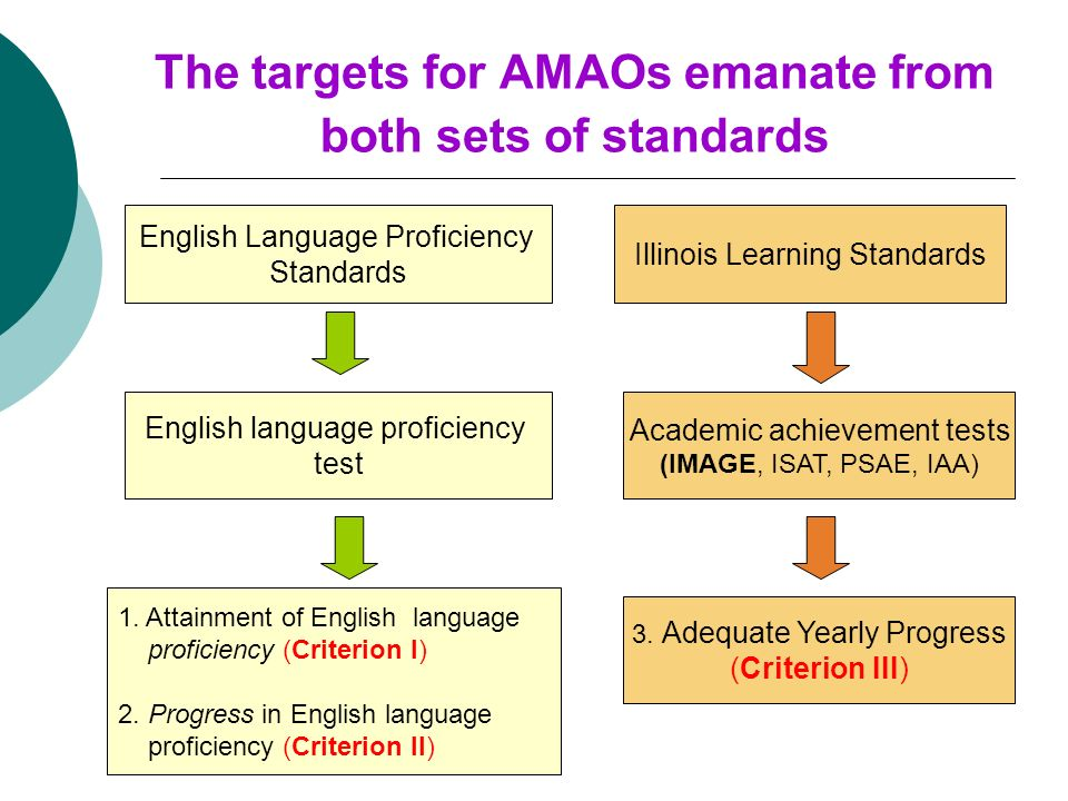 The targets for AMAOs emanate from both sets of standards English Language Proficiency Standards Illinois Learning Standards English language proficiency test Academic achievement tests (IMAGE, ISAT, PSAE, IAA) 3.