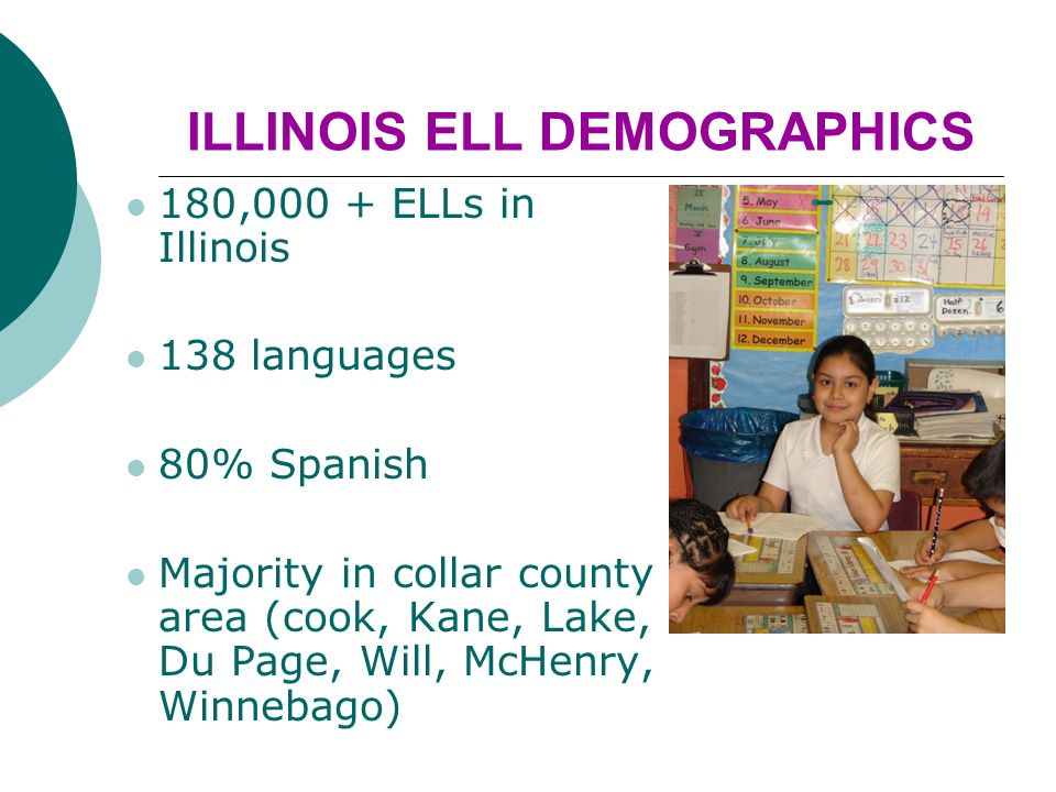 ILLINOIS ELL DEMOGRAPHICS 180,000 + ELLs in Illinois 138 languages 80% Spanish Majority in collar county area (cook, Kane, Lake, Du Page, Will, McHenry, Winnebago)