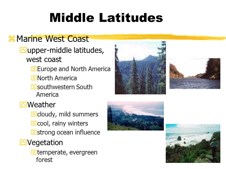 Middle Latitudes zMarine West Coast yupper-middle latitudes, west coast xEurope and North America xNorth America xsouthwestern South America yWeather xcloudy, mild summers xcool, rainy winters xstrong ocean influence yVegetation xtemperate, evergreen forest