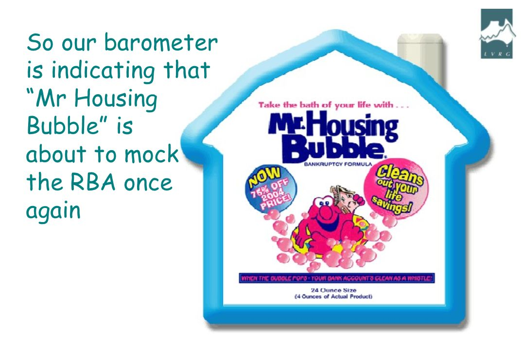 So our barometer is indicating that Mr Housing Bubble is about to mock the RBA once again