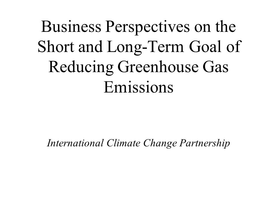Business Perspectives on the Short and Long-Term Goal of Reducing Greenhouse Gas Emissions International Climate Change Partnership