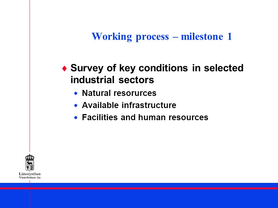 Working process – milestone 1 Survey of key conditions in selected industrial sectors Natural resorurces Available infrastructure Facilities and human resources