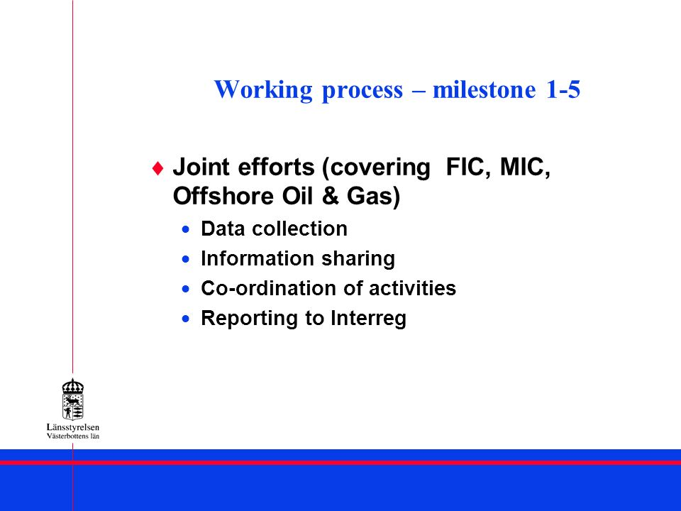Working process – milestone 1-5 Joint efforts (covering FIC, MIC, Offshore Oil & Gas) Data collection Information sharing Co-ordination of activities Reporting to Interreg