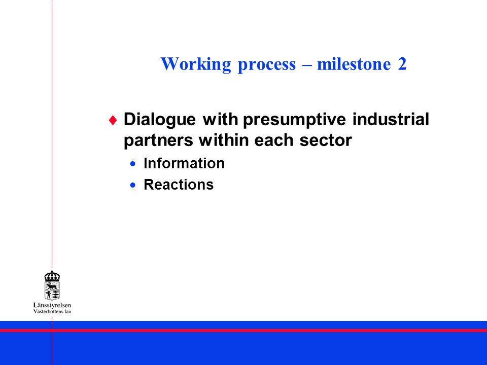 Working process – milestone 2 Dialogue with presumptive industrial partners within each sector Information Reactions