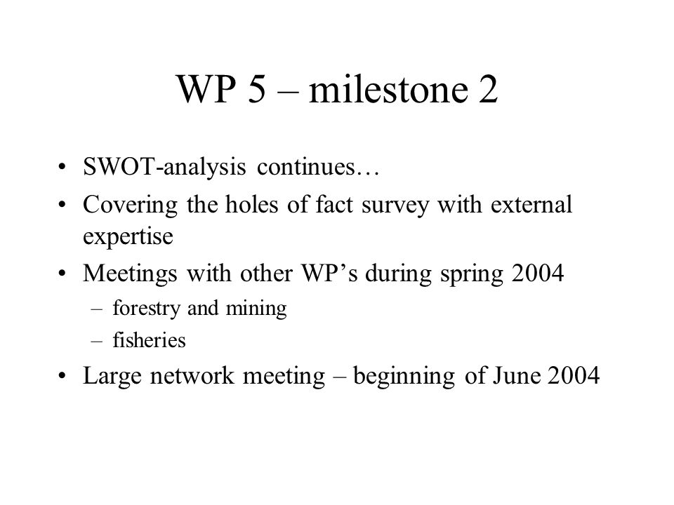 SWOT-analysis continues… Covering the holes of fact survey with external expertise Meetings with other WPs during spring 2004 –forestry and mining –fisheries Large network meeting – beginning of June 2004 WP 5 – milestone 2