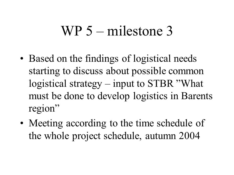 Based on the findings of logistical needs starting to discuss about possible common logistical strategy – input to STBR What must be done to develop logistics in Barents region Meeting according to the time schedule of the whole project schedule, autumn 2004 WP 5 – milestone 3