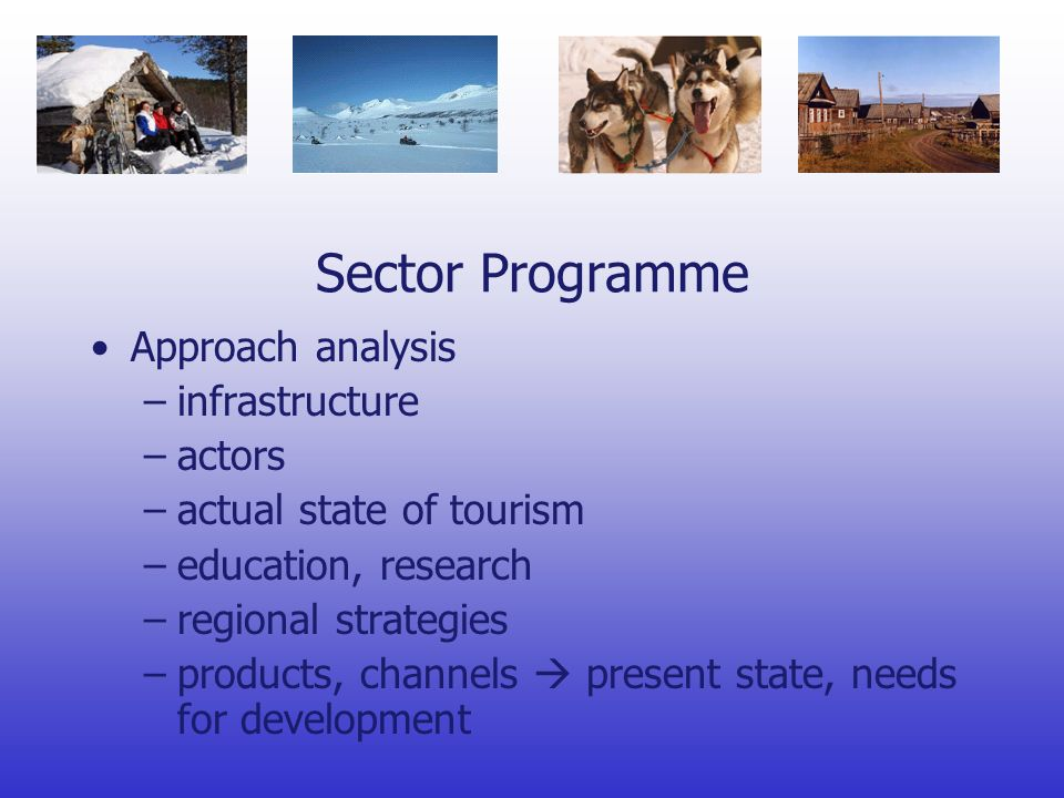 Sector Programme Approach analysis –infrastructure –actors –actual state of tourism –education, research –regional strategies –products, channels present state, needs for development