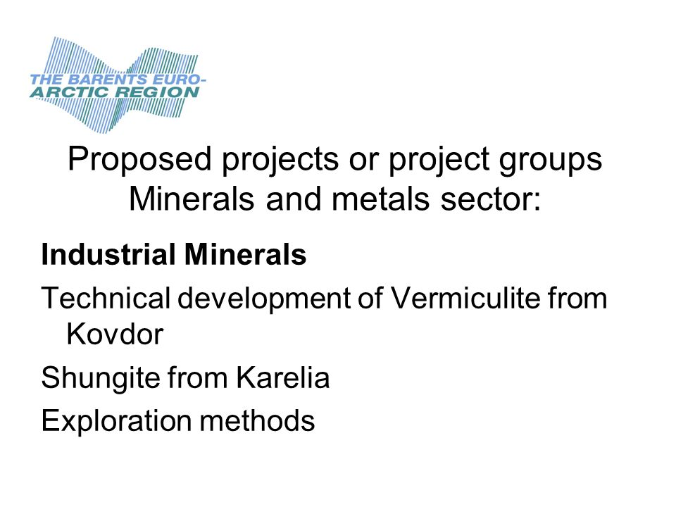 Proposed projects or project groups Minerals and metals sector: Industrial Minerals Technical development of Vermiculite from Kovdor Shungite from Karelia Exploration methods