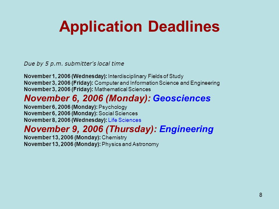 8 Application Deadlines Due by 5 p.m.