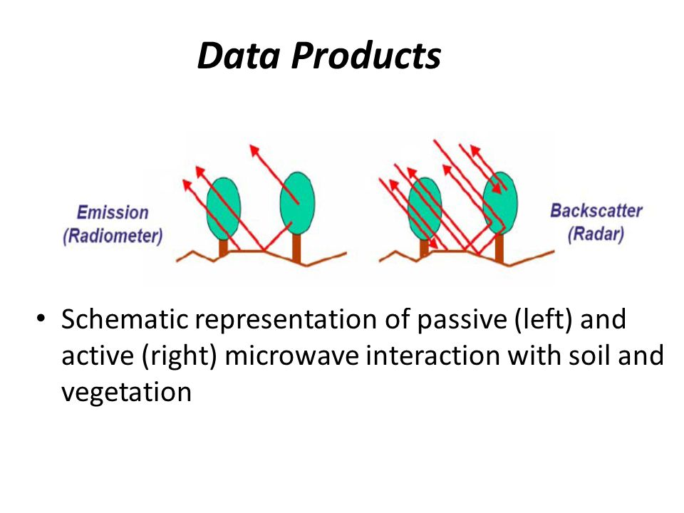 Data Products Schematic representation of passive (left) and active (right) microwave interaction with soil and vegetation