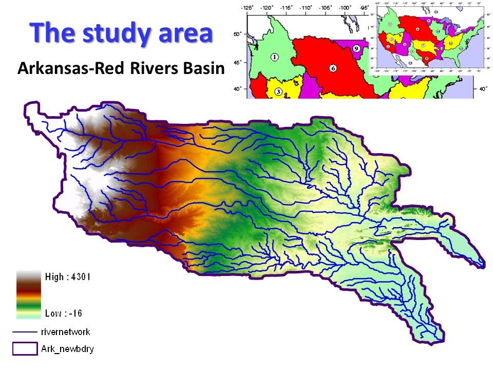 The study area Arkansas-Red Rivers Basin