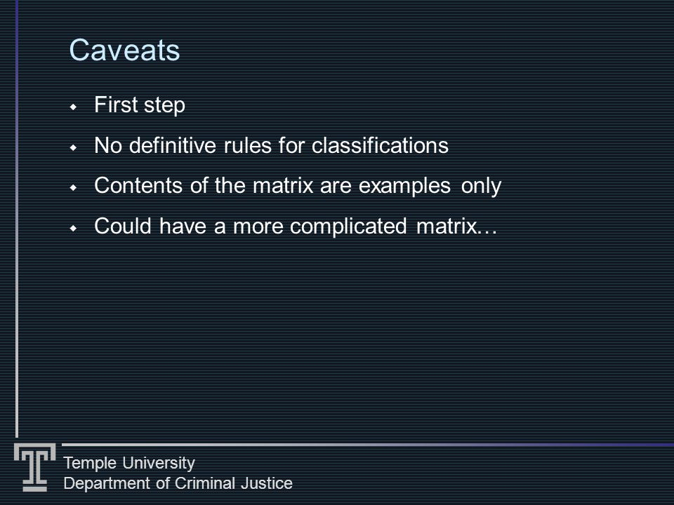 Temple University Department of Criminal Justice Caveats First step No definitive rules for classifications Contents of the matrix are examples only Could have a more complicated matrix…