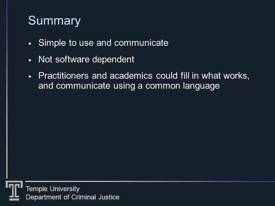 Temple University Department of Criminal Justice Summary Simple to use and communicate Not software dependent Practitioners and academics could fill in what works, and communicate using a common language