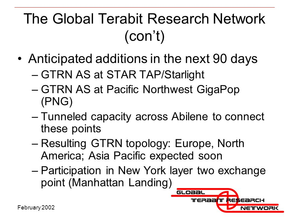 The Global Terabit Research Network (cont) Anticipated additions in the next 90 days –GTRN AS at STAR TAP/Starlight –GTRN AS at Pacific Northwest GigaPop (PNG) –Tunneled capacity across Abilene to connect these points –Resulting GTRN topology: Europe, North America; Asia Pacific expected soon –Participation in New York layer two exchange point (Manhattan Landing)