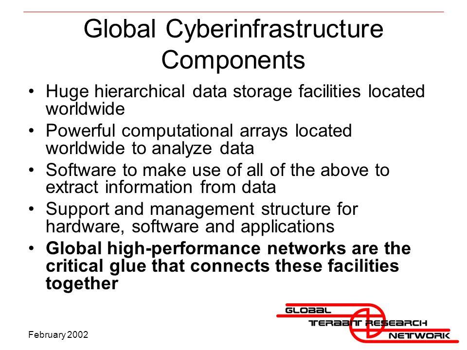 February 2002 Global Cyberinfrastructure Components Huge hierarchical data storage facilities located worldwide Powerful computational arrays located worldwide to analyze data Software to make use of all of the above to extract information from data Support and management structure for hardware, software and applications Global high-performance networks are the critical glue that connects these facilities together