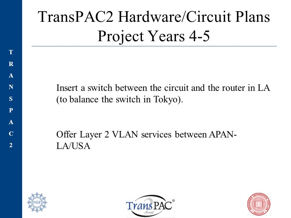 TRANSPAC2TRANSPAC2 TransPAC2 Hardware/Circuit Plans Project Years 4-5 Insert a switch between the circuit and the router in LA (to balance the switch in Tokyo).