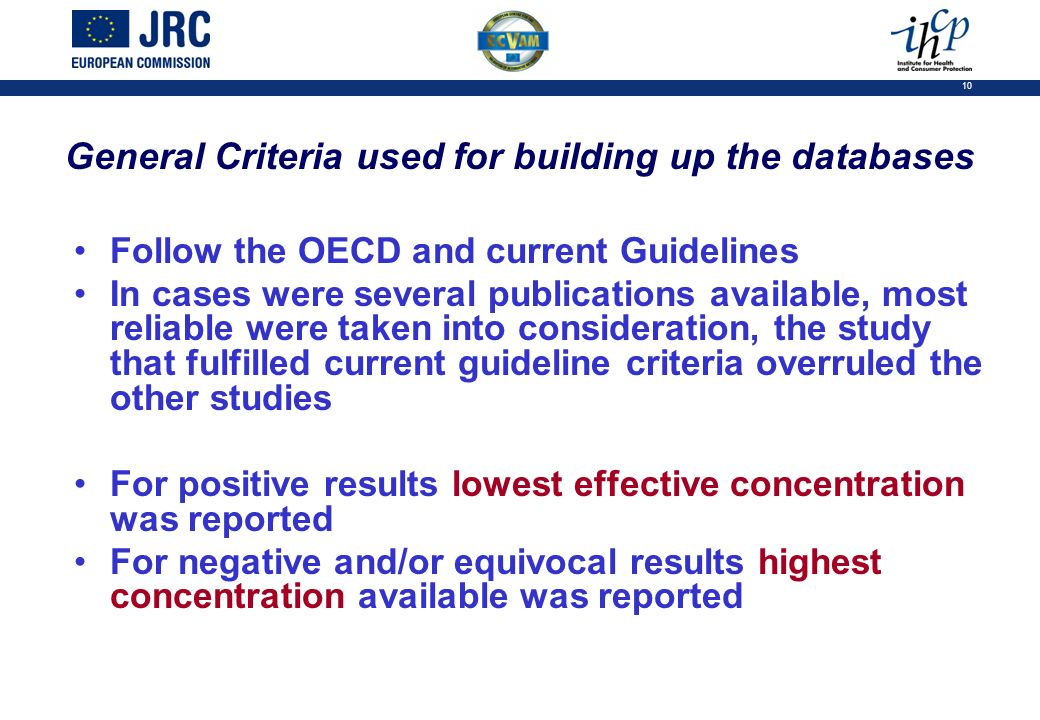 10 General Criteria used for building up the databases Follow the OECD and current Guidelines In cases were several publications available, most reliable were taken into consideration, the study that fulfilled current guideline criteria overruled the other studies For positive results lowest effective concentration was reported For negative and/or equivocal results highest concentration available was reported