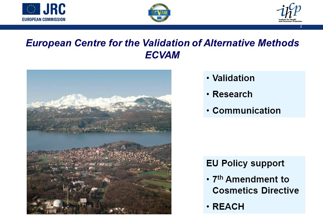 2 European Centre for the Validation of Alternative Methods ECVAM Validation Research Communication EU Policy support 7 th Amendment to Cosmetics Directive REACH
