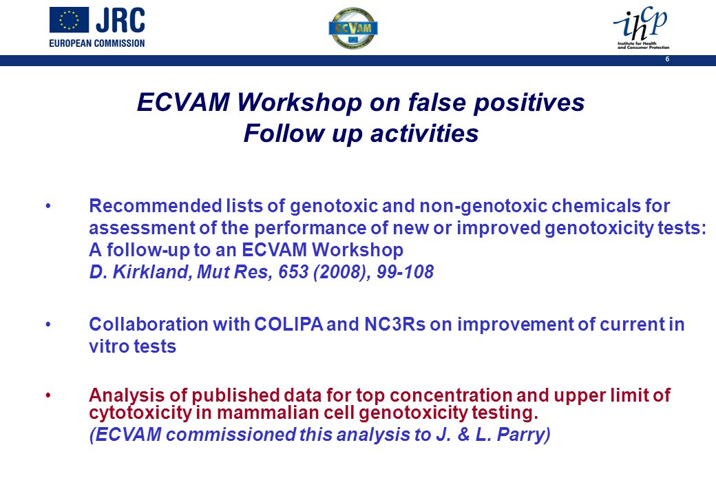 6 ECVAM Workshop on false positives Follow up activities Recommended lists of genotoxic and non-genotoxic chemicals for assessment of the performance of new or improved genotoxicity tests: A follow-up to an ECVAM Workshop D.
