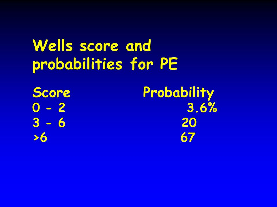 Wells score and probabilities for PE ScoreProbability 0 - 2 3.6% 3 - 6 20 >6 67