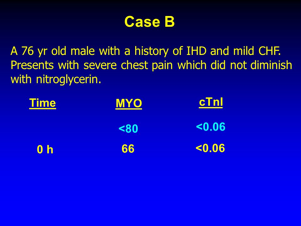 Case B A 76 yr old male with a history of IHD and mild CHF.