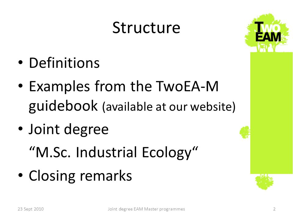 Structure Definitions Examples from the TwoEA-M guidebook (available at our website) Joint degree M.Sc.