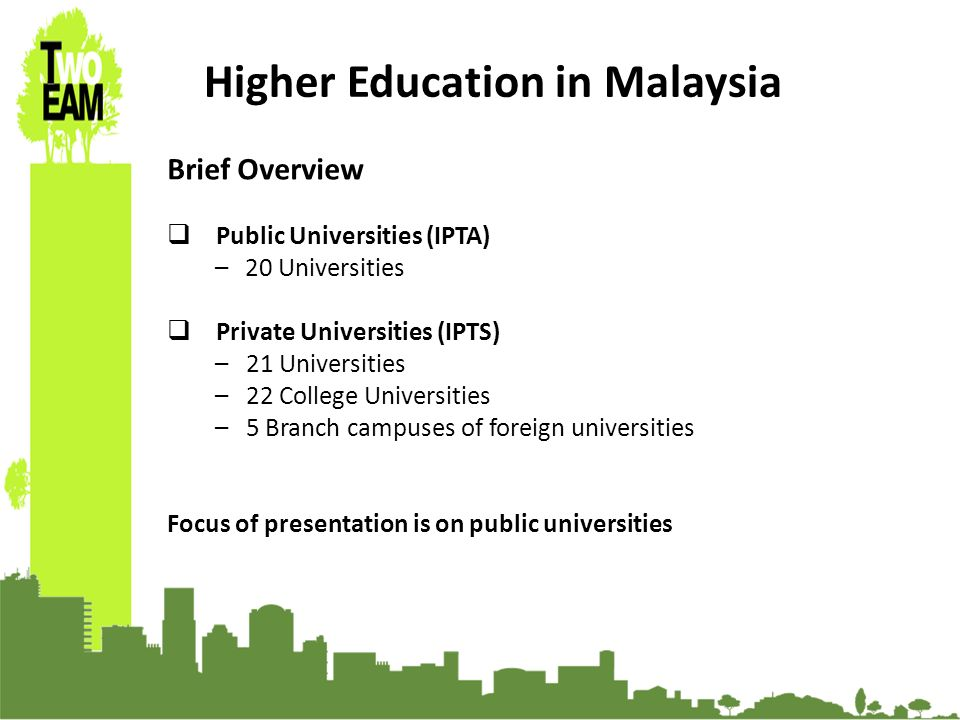 23-24 Sept 2010, University of Graz, Austria Higher Education in Malaysia Brief Overview Public Universities (IPTA) – 20 Universities Private Universities (IPTS) –21 Universities –22 College Universities –5 Branch campuses of foreign universities Focus of presentation is on public universities